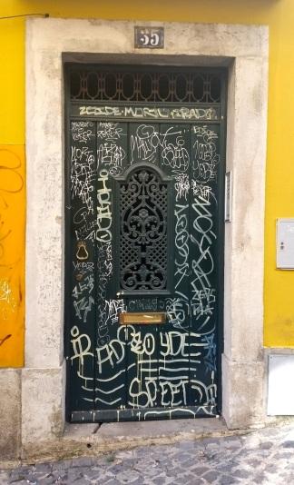 Tagged door in Bairro Alto